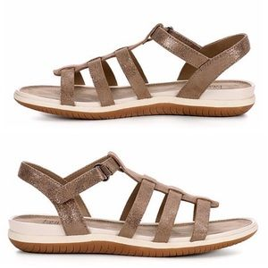 Shimmer Vegan Suede Walking Comfy Sandal Shoe NIB